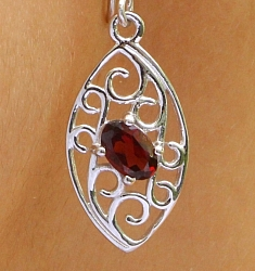 Garnet Earrings Sterlingsilver 925 Ornamia 10x33mm