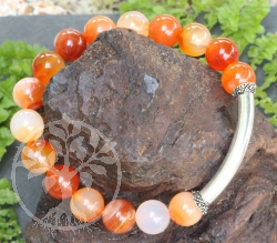 Bracelet Carnelian Stones with Sterlingsilver 925 10mm 19cm