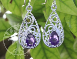 Amethyste Earrings Sterlingsilver 925 Art Nouveau Style 11x33mm