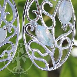 Mondstein Ohrring Silber 925 Ovalona 13x35mm
