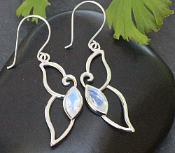 Moonstone Earrings Faceted Sterlingsilver 925 12x45mm