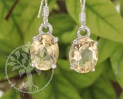 Citrine Oval Earring Sterling Silver 925 9X25mm