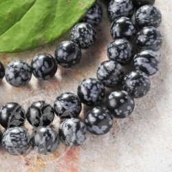Snowflake Obsidian Gemstone Ball Beads 10mm