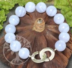 Chalcedon Edelsteine Perlen Armband 12mm 19cm