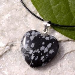 Obsidian Herz Anhänger mit Öse Schneeflockenobsidian