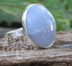 Chalcedon Ring Blue Wave Silber 925 Grösse 53 21X25mm