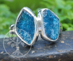 Apatite blue Ring Sterlingsilver 925 Size 51 13x21mm