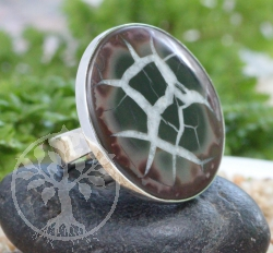 Septarian Circle Ring Sterlingsilver 925 Size 49 22x29mm