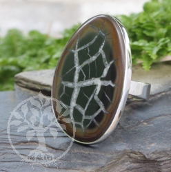 Septarian Ring Sterlingsilver 925 Size 49 22x35mm