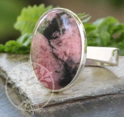 Rhodonite Oval Ring Sterlingsilver 925 Size 53 19x20mm