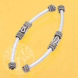 Silberperle lang gebogen 925 39x3mm Perle für Armband