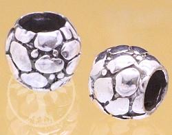 Silberperle 7X8mm 5mm Loch Echtsilber Steinzeit Fussball