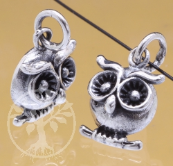 Silver Beads Owl Sterlingsilver 925 16x9mm