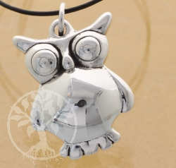 Silver Glossy Owl Pendant Sterlingsilver 925 15X38mm