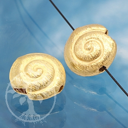 Silver Bead Gold Plated Big Snail Shell Sterling Silver 925 16mm
