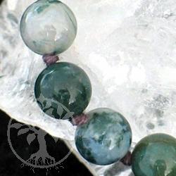 Moosachat Halskette 45cm/12mm Perlen