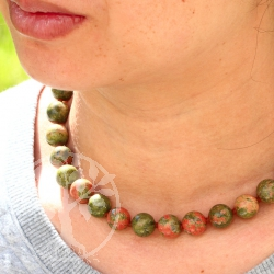 Unakite necklace ca. 45cm unakite beads 14mm