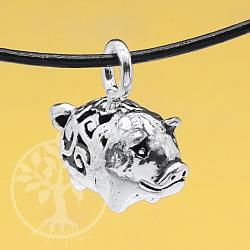 Schwein Anhänger mit Ornamenten 925 15mm Silberanhänger