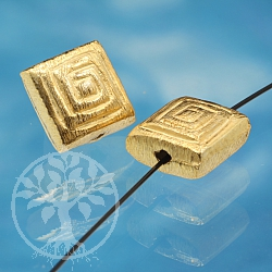 Square Bead Gold Brushed Sterlingsilver 925 8mm