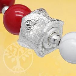 Silberperle zerbeulte Dose Silber 925 2.5g schwer 11x8mm
