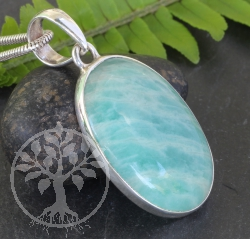 Amazonite Pendant Oval Sterlingsilver 925 23x40mm