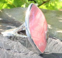 Rhodochrosite Ring Sterling Silver 925 26x26mm Size 59