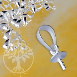 Öse Silber 925 Halblinse mit Stift, 6mm Stiftöse, 5mm Cup