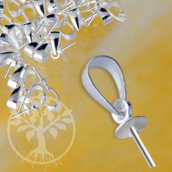 Öse Silber925 Halblinse mit Stift für Anhänger, 6mm Stiftöse, 4mm Cup, 5mm Stift