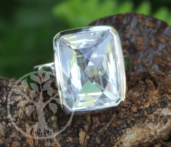 Crystal Square Ring Sterlingsilver 925 17x28 mm Size 54