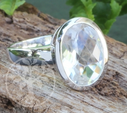 Crystal Oval Ring Sterlingsilver 925 16x28 mm Size 59