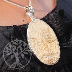Solnhofener Plattenkalk Silberanhänger 925er Silber 67mm