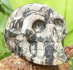 Silver Leaf Jasper Stone Skull AA 100/150mm