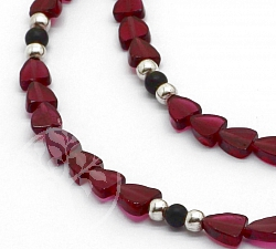 Garnet necklace with spinel and sterling silver 925 from Mozambique 44cm