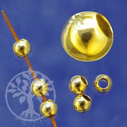 Gold Bead 5mm hole 2.2mm Shiny Gold Filled 14K 1/20 Hamilton plated