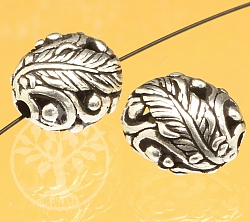 Silver Bead oval Leaves Sterling Silver 925 13x11mm