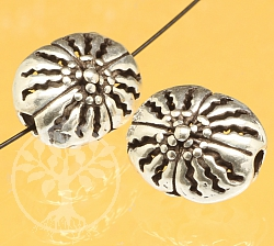 Oval Silver Bead Gerbera Flower Sterling Silver 925 12x10mm