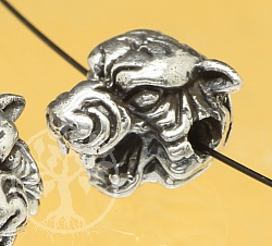 Silver Beads Tiger Head 925 Sterling Silver 925 10x9mm