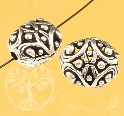 Silver Bead Thai Pattern Sterling Silver 925 12x10mm