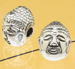 Silver Beads Head Buddha Sterling Silver 925 13x10mm