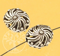 Silver Bead Flower Swirl Sterling Silver 925 13x10mm
