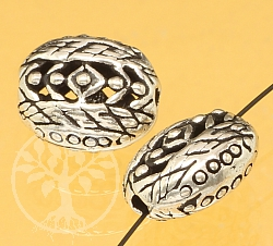 Silver Bead Sterling Silver 925 basket pattern 12x10mm