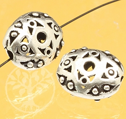 Silver bead rhombic eye Iris sterling silver 925 12x9mm