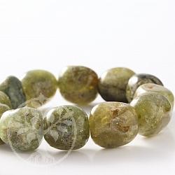 Grüner Granat Armband Trommelstein 14mm Perlen
