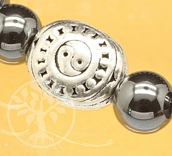 Yin Yang Silver Bead Sterling Silver 925 13x11mm