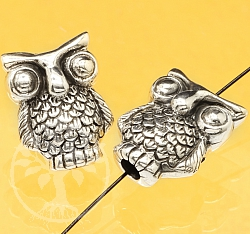 Silver Beads Owl Sterling Silver 925 15x11mm