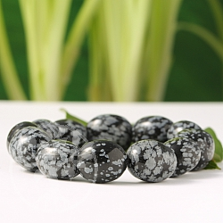 Schneeflocken Obsidian Armband Trommelstein 16mm