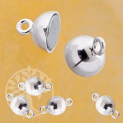 Magnet-Verschluss Kugel, Kugelschließe 6 mm 925er Silber