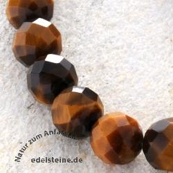 Tigerauge Perlen Kugel Facettiert 12mm