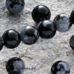 Snowflake Obsidian Gemstone-Beads Round 6mm/40cm