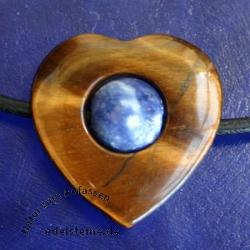 Tiger Eye - Sodalite Heart Pendant